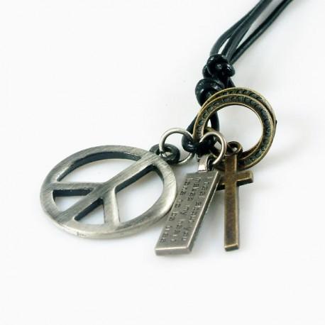 Nyaklánc Bőr Peace Cross