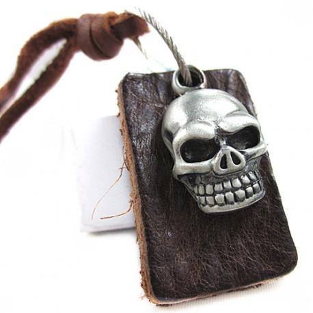 Skull Head bőr nyaklánc