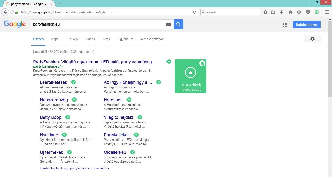 A partyfashion.eu webhelye biztonságos az Avast! Online Security vizsgálata alapján