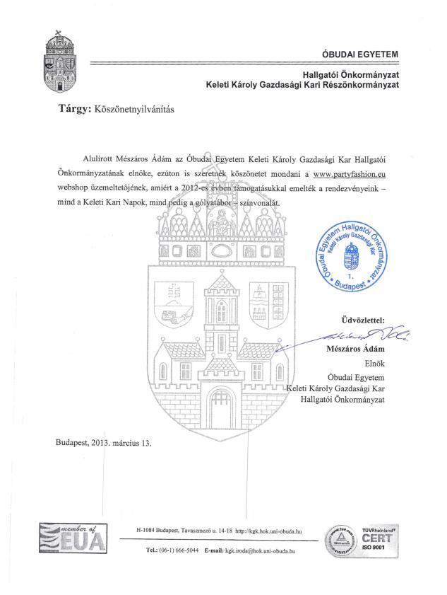 Óbudai Egyetem Hallgatói Önkormányzat köszönete