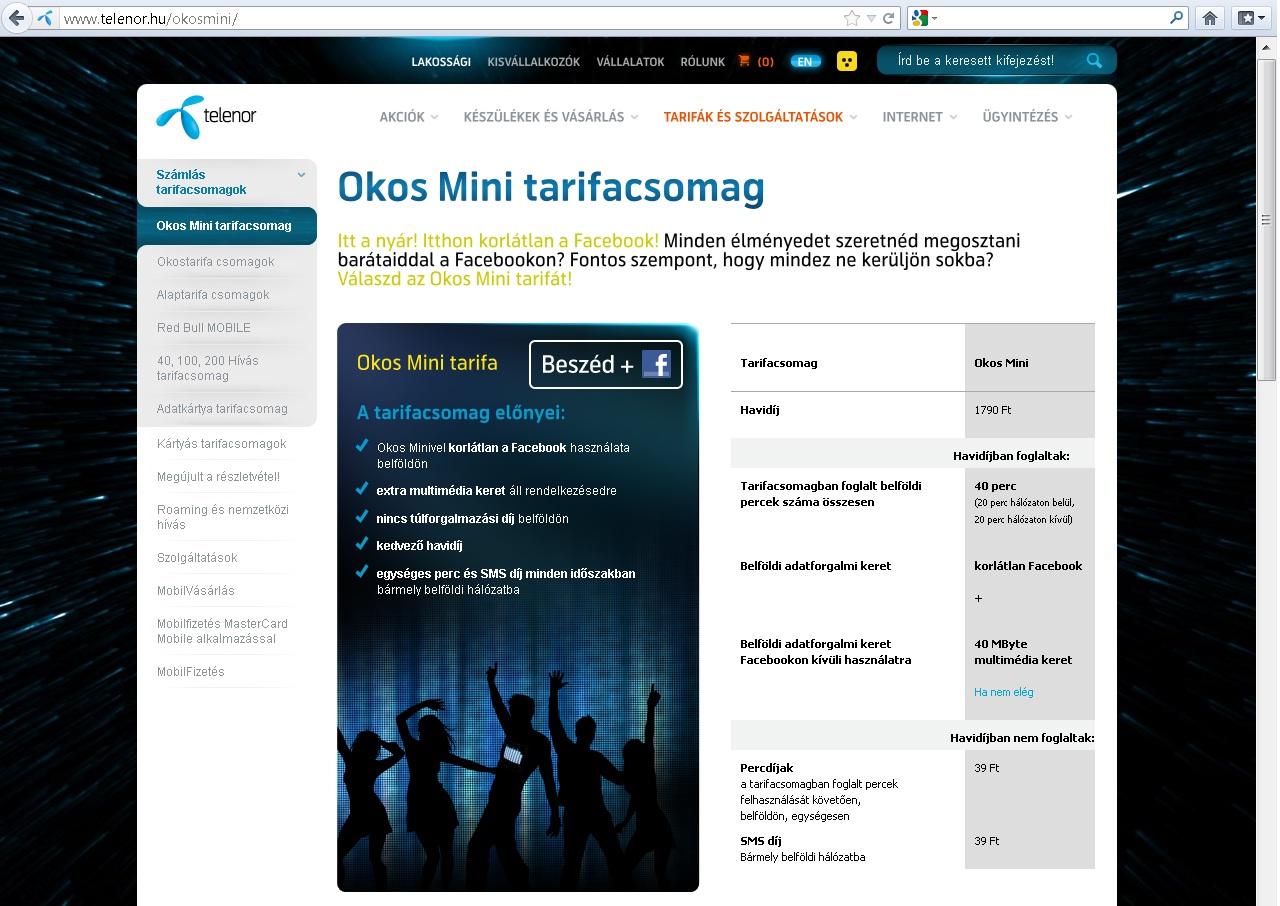 Telenor Okos Mini tarifacsomag
